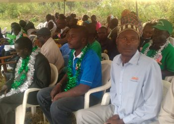 Bungoma County Fan Clubs officials during the launch-Meshack Wafula (far left)
