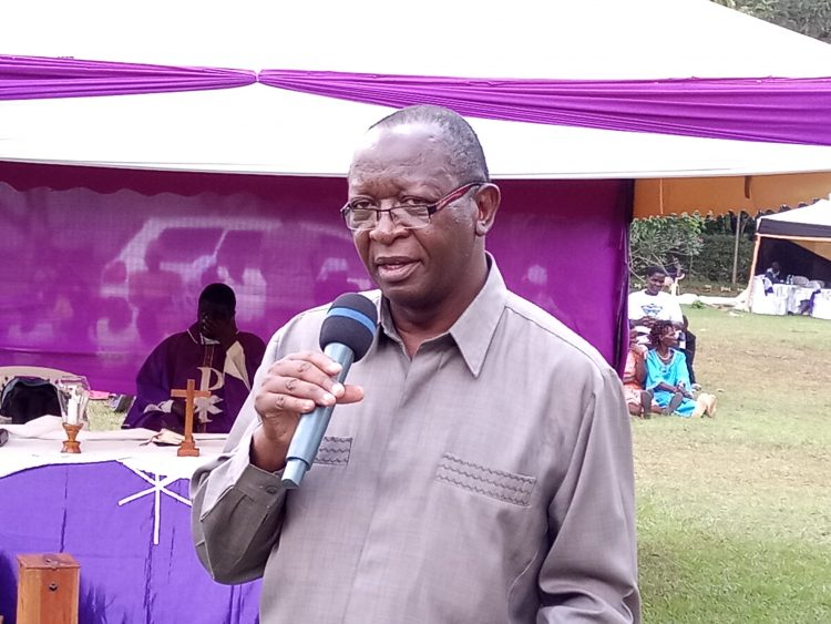 Busia County Deputy Governor Moses Mulomi speaking at Mauko village in Butula