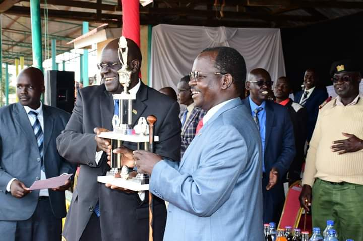 West Pokot Governor John Lonyangapuo and Education CS Prof. George Magoha in West Pokot