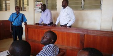 The two suspects Evans Wandera and Paul Anono at the Busia law courts