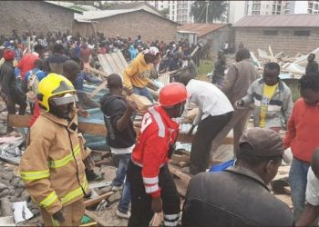 Rescue efforts at Precious Talent School. after the tragedy that led to the death of eight pupils