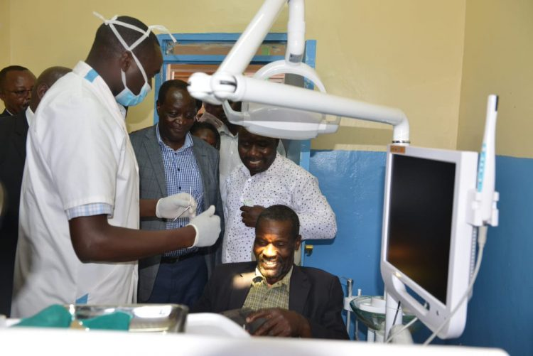 Vihiga Governor Wilber Otichilo at the launch of one of the dental units at Sabatia sub county hospital. Photo/Courtesy