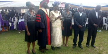 The late Professor Barasa Wangila's family at the funeral