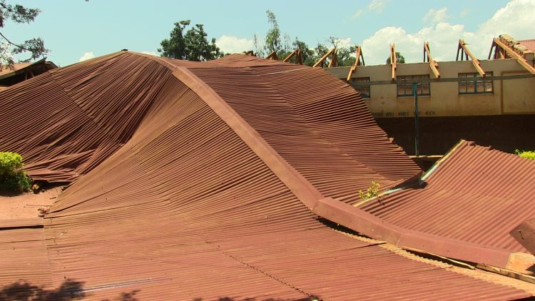 A roof that was blown off following the heavy downpour and strong winds