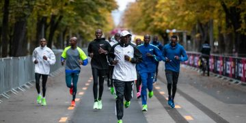 Eliud Kipchoge with pacesetters preparing for the INEOS challenge in Vienna. Photo/INEOS