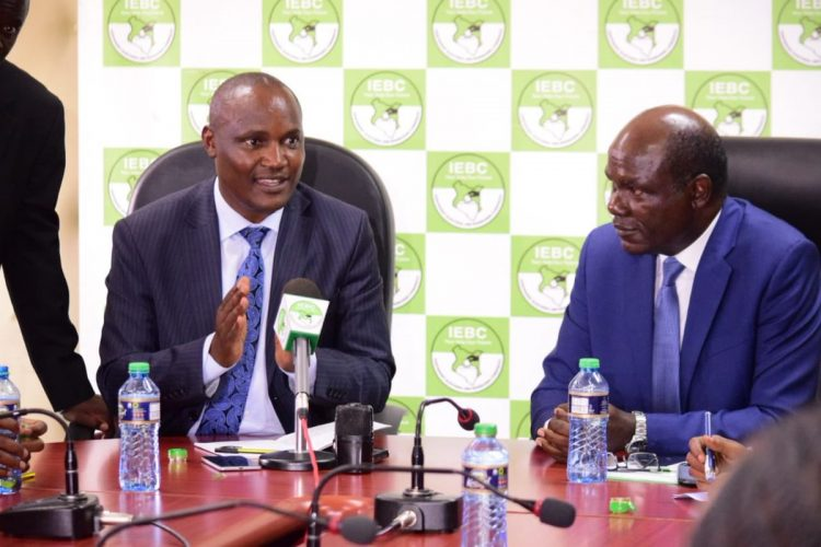 IEBC chairman Wafula Chebukati and ODM chairman John Mbadi speaking to the press after the meeting. Photo/Courtesy