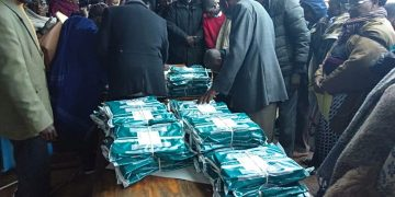 Exam papers being distributed at Kapenguria