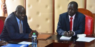 KenGen chairman Joshua Choge and West Pokot Governor John Lonyangapuo in a past meeting