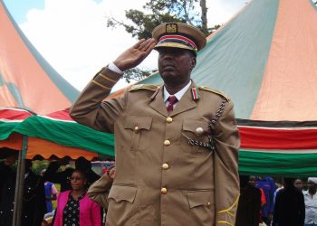 Lugari Deputy County Commissioner William Lenaremo during Mashujaa celebrations held at Musembe primary school