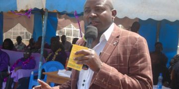 Lugari MP Ayub Savula addressing residents in his constituency