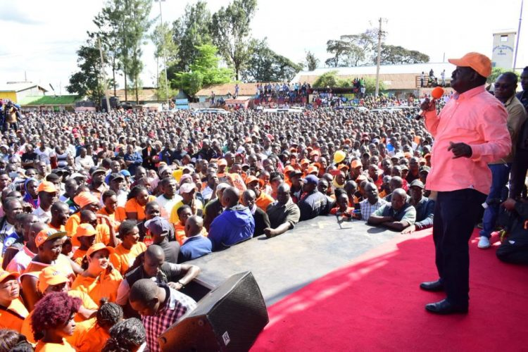 ODM party leader addressing Kibra residents during a campaign. Photo/courtesy