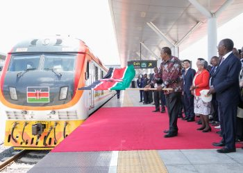 President Uhuru Kenyatta launching the Phase 2A of the SGR at the Nairobi terminus. Photo/PSCU