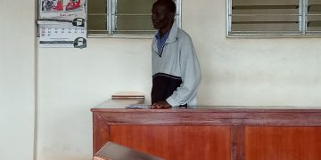 The accused person in the dock during the court session