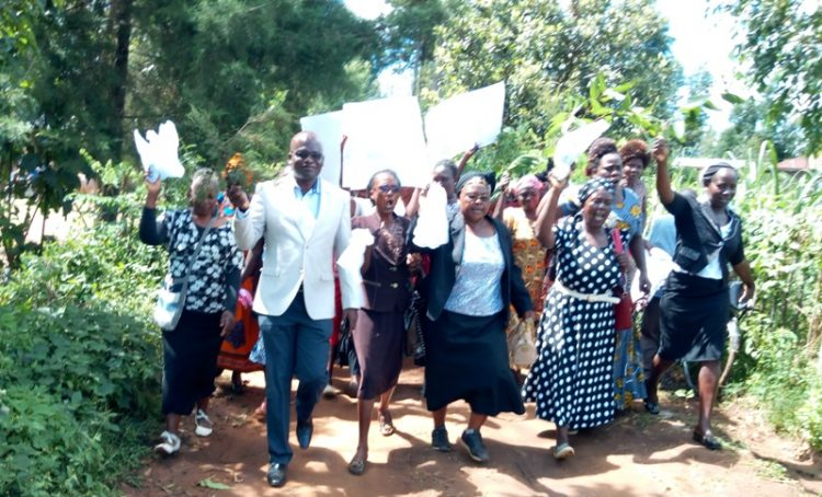 The demonstrators protesting against increased cases of of rape and murder in Likuyani