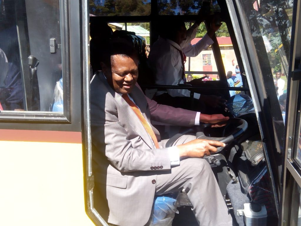Prof. Philip Kaloki driving the bus