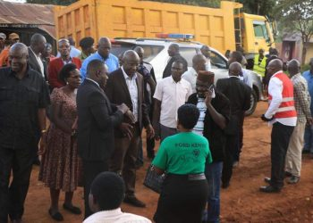 Bungoma Governor Wycliffe Wangamati launching a road project in Tongaren