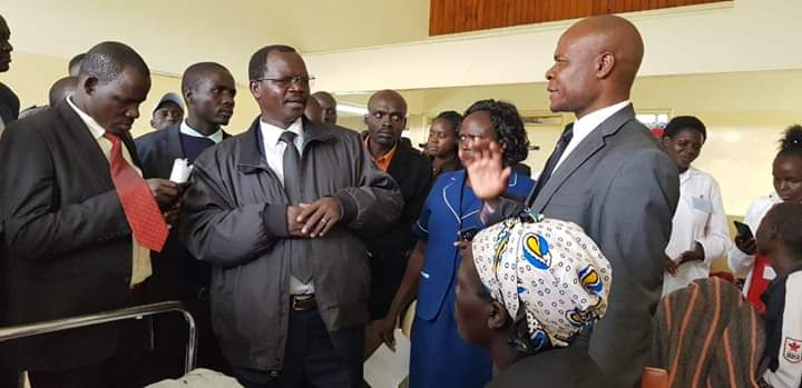 West Pokot Governor John Lonyangapuo at the hospital when he visited patients
