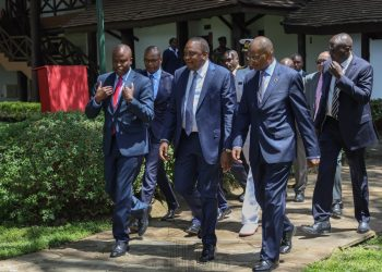 President Uhuru Kenyatta at the launch of the Stawi credit facility at Safari Park hotel. Photo/PSCU