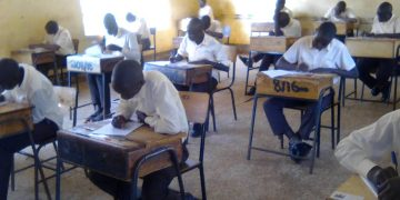 Candidates at St Joseph's Boys national school doing the KCSE exam