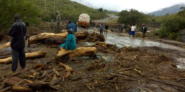The Muruny river bridge along the Kitale-Lodwar highway was cut off