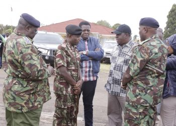 Interior CS Fred Matiang'i was accompanied by Devolution CS Eugene Wamalwa, Police IG Hillary Mutyambai and Rift Valley Commissioner George Natembeya. Photo/Courtesy