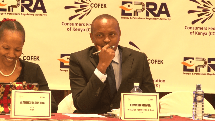 EPRA Director of Petroleum and Gas Edward Kinyua (right)