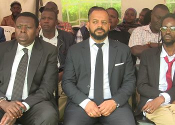 Devolution CS Eugene Wamalwa (left) and Jabali Wamalwa during the funeral