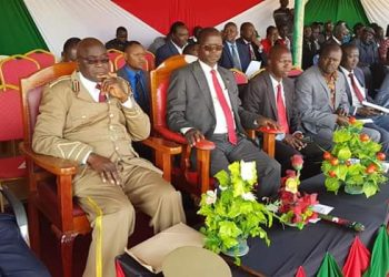 West Pokot Governor and County Commissioner Apollo Okello (centre) during the Jamhuri Day celebration at Makutano stadium