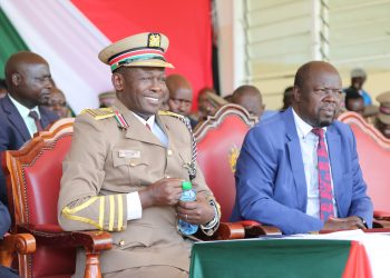 Trans Nzoia Governor Patrick Khaemba and the Trans Nzoia County Commissioner Patrick Khaemba during the Jamhuri Day celebration