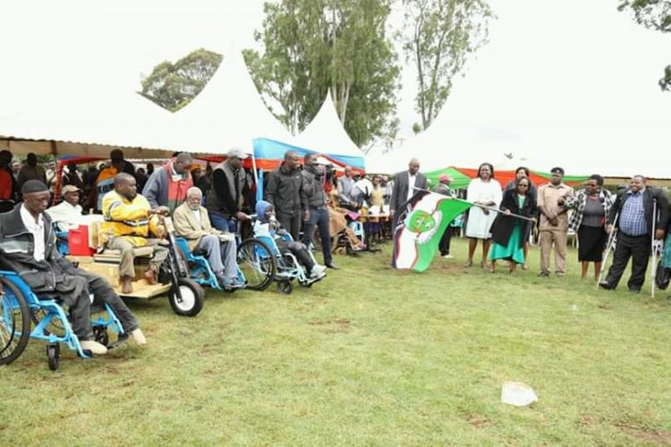 The people living with disabilities received different items including wheelchairs and sewing machines