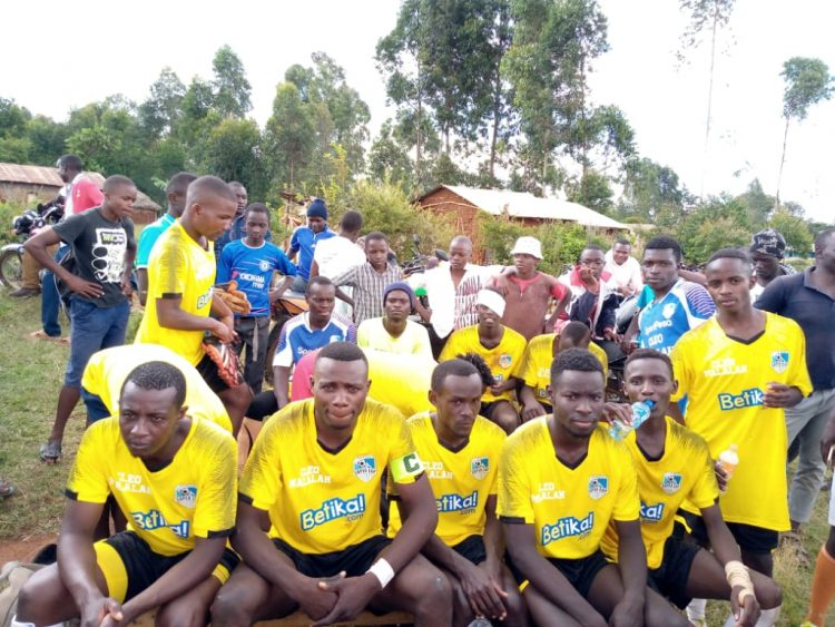 Lumakanda combined FC players as they prepared to play Mukuyu FC at Panpaper grounds in Lugari during the Malala tournament