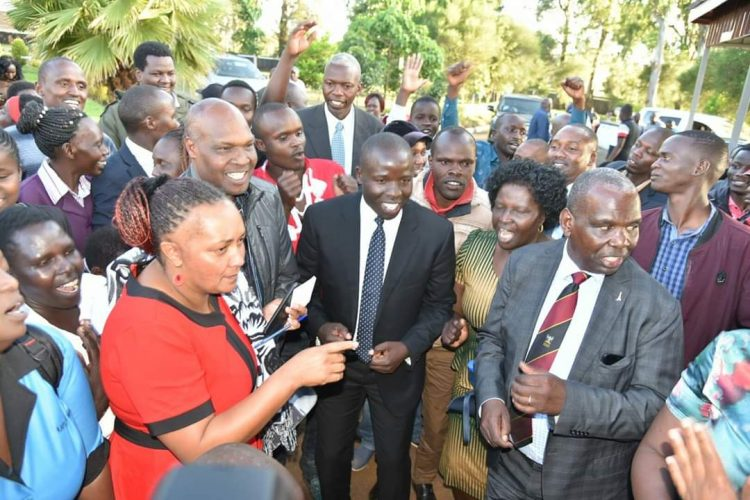 Nandi Governor Stephen Sang joined the school fraternity to celebrate the good KCSE results shortly after they were released. Photo/Courtesy