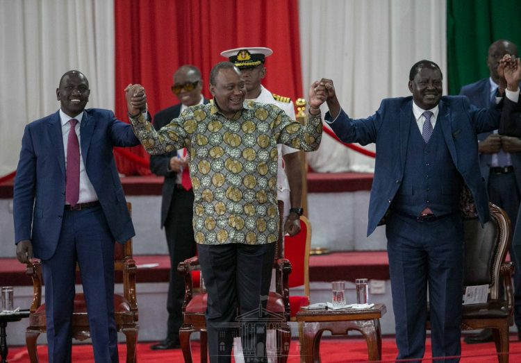 President Uhuru Kenyatta, Deputy President William Ruto and former Prime Minister Raila Odinga during the launch of the BBI at Bomas. Photo/PSCU