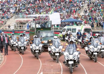 President Uhuru Kenyatta making his way into Nyayo Stadium during the Jamhuri Day celebrations. Photo/PSCU