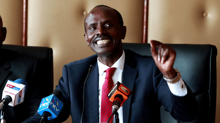 KNUT secretary general Wilson Sossion speaking to the press