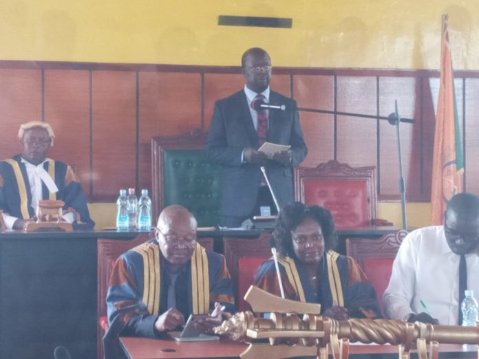 Governor Patrick Khaemba addressing MCAs in the County Assembly