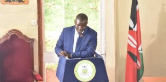 Nandi Governor Stephen Sang addressing the Nandi County Assembly
