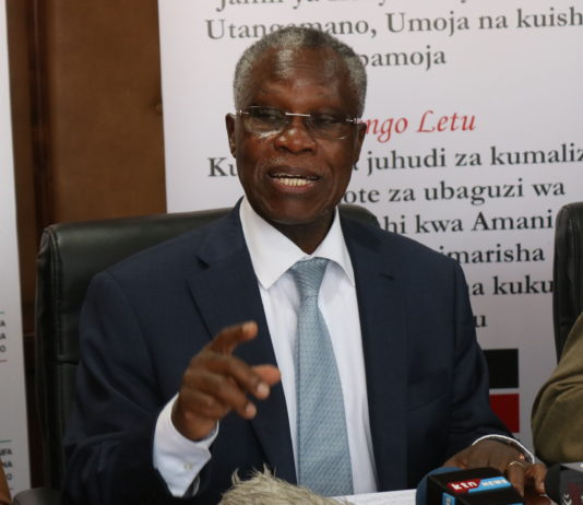 NCIC chairperson Rev. Dr. Samuel Kobia adressing the media at NCIC offices in Nairobi