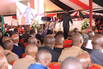 Raila Odinga speaking at the funeral service of the late Daniel arap Moi in Kabarak. Photo/Courtesy