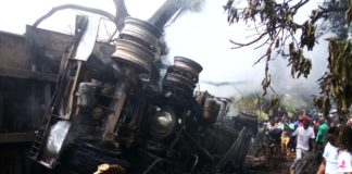 The remains of the truck that was involved in an accident at Kabrengu