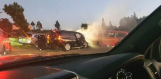 Jubilee SG and CS without portfolio Raphael Tuju's vehicle (black) and the 14-seater matatu involved in the accident