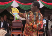 Agriculture CS Peter Munya displays the new BT cotton seeds at Alupe in Busia County
