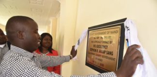 Nandi Governor Stephen Sang during the official opening of Kitaor dispensary