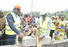 Nandi Governor Stephen Sang laying a stone at Kitaor ECDE centre as construction commences