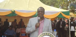 Kakamega Governor Wycliffe Oparanya addressing Lugari residents