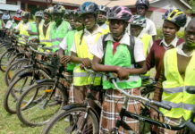Students who benefited from the bicycles donation