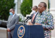 President Uhuru Kenyatta speaking at State House, Nairobi. Photo/PSCU