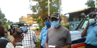 Trans Nzoia County police commander Ayub Gitonga speaking to the press