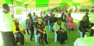 Family members during the funeral