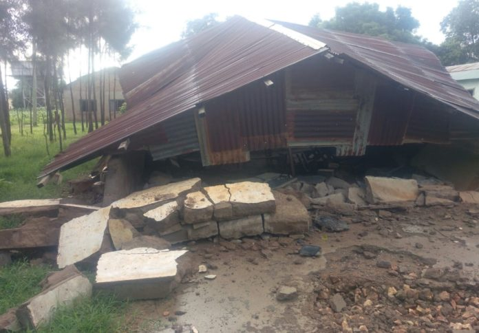 A section of collapsed classrooms at Makhukhuni primary school